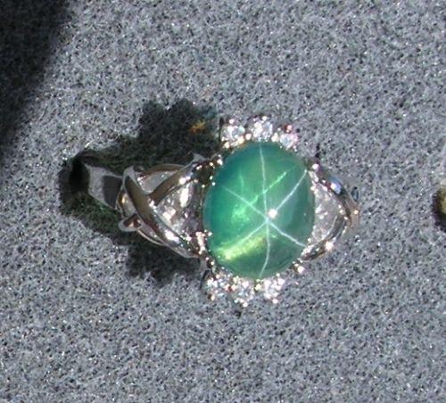 PMP LINDE LINDY TRNSP SPRING GREEN STAR SAPPHIRE CREATED CAP HRT RING RP .925 SS