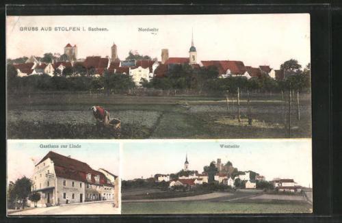 tolle AK Stolpen, Gasthaus zur Linde, West- und Nordseite des Ortes 1911