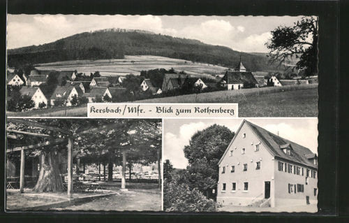 alte AK Kersbach, Gasthaus zur Linde, Blick zum Rothenberg