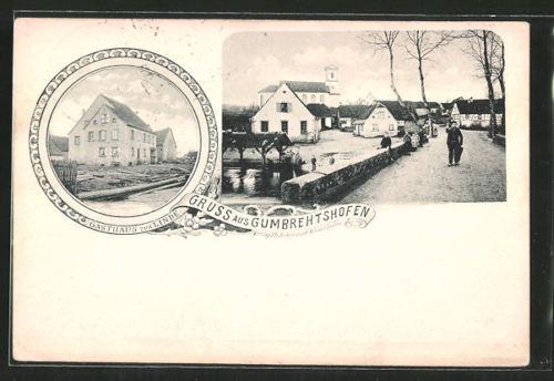 remarquable CPA Gumbrehtshofen, vue de la rue im Ort, Gasthaus zur Linde