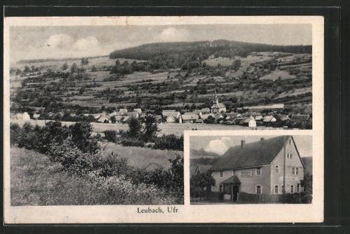 tolle AK Leubach, Gasthaus zur Linde, Ortsansicht