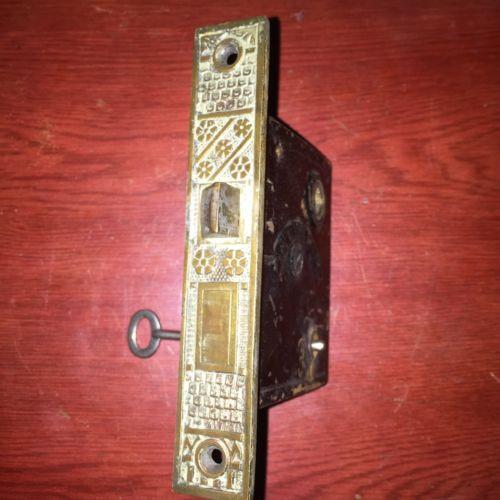 Antique VICTORIAN Eastlake F. C Linde Style Lock With Skeleton Key