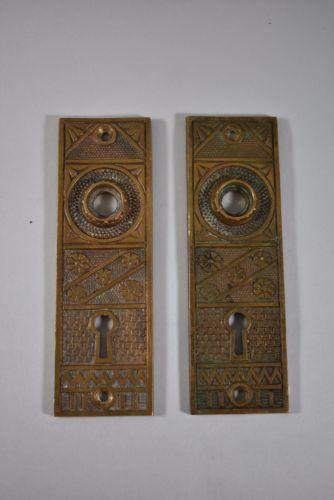 SET OF ANTIQUE BRASS F.C. LINDE & CO DOOR BACK PLATES CRESSKILL NJ