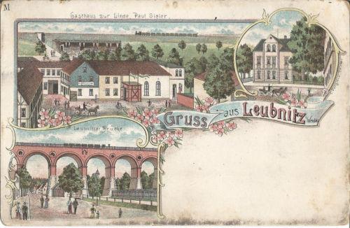 Leubnitz bei Werdau, Gasthaus zur Linde-Paul Sieler, Litho-Ansichtskarte um 1900