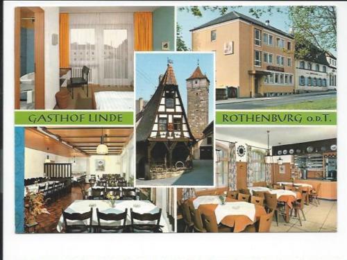 ROTHENBURG o.d.T. << Gasthof Linde,  5 Ansichten u.a. Restaurant >>  color AK