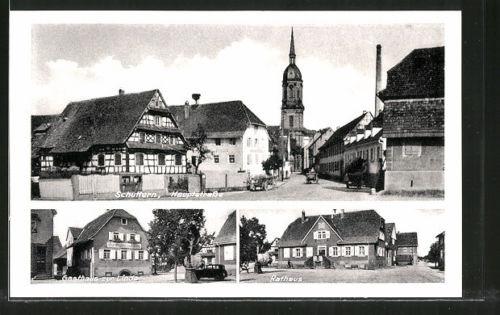 alte AK Schuttern, Hauptstraße, Gasthaus zur Linde, Rathaus