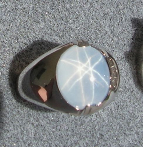 PMP LINDE LINDY TRANS WHITE STAR SAPPHIRE CREATED RING RHODIUM PLATE .925 S/S