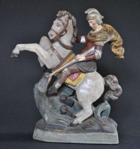 HL. Georg zu Pferde, ca. 1850, komplett Holz geschnitzt, alte Fassung, Linde