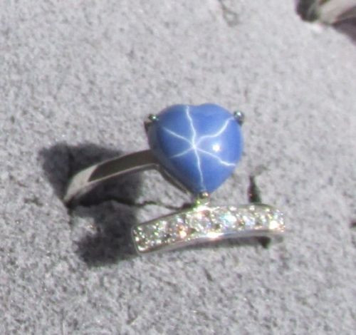 9x9MM HEART LINDE LINDY CF BLUE STAR SAPPHIRE CREATED 2ND STAINLESS STEEL RING