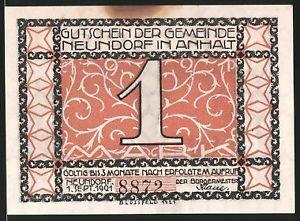 Notgeld Neundorf in Anhalt 1921, 1 Mark, Kinder tanzen an Linde