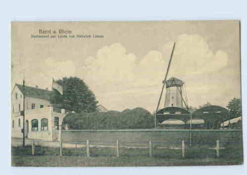 I1754-4131/ Duisburg Baerl a. Rhein Restaurant zur Linde, Windmühle Ak 1922