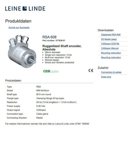 Leine & Linde RSA 608 Part number 577838-01 CAN OPEN In Dubai/UAE RSA 6O8 RSA6-8