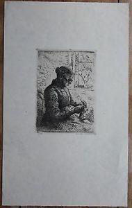 Heinrich Eduard Linde-Walther. Strickende alte Frau.  Signiert.    Lübeck.