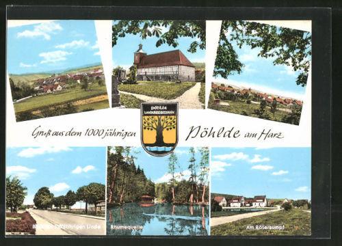 alte AK Pöhlde, Ortsansicht, Rhumequelle, Blick zur 1000 jährigen Linde