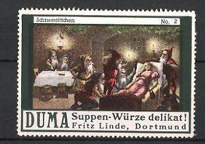 Reklamemarke Dortmund, Duma Suppen-Würze Fritz Linde, Schneewittchen schläft be