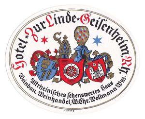 Hotel Zur Linde GEISENHEIM Germany luggage label Kofferaufkleber   #0102