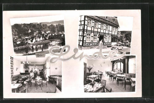 AK Herstelle, Gasthaus zur Linde mit Innenansichten, Ortsansicht aus der Vogels