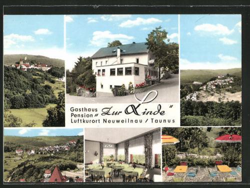 schöne AK Neuweilnau, Gasthaus-Pension Zur Linde, Ortsansicht, Innenansicht