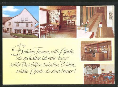 schöne AK Bad Driburg, Gasthof zur Linde mit Innenansichten