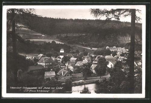 schöne AK Sitzendorf, Ortsansicht mit Hotel zur Linde & Haus Schönberg