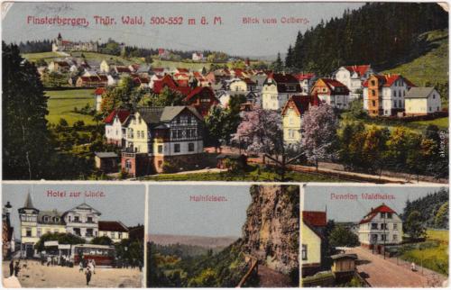 Finsterbergen Friedrichroda 4B Hotel Linde Hainfelsen und Pension Waldhaus 1920