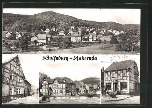 AK Unkeroda, Ortspanorama, Gasthaus zur Linde, Betriebsferienheim Eduard Steyer