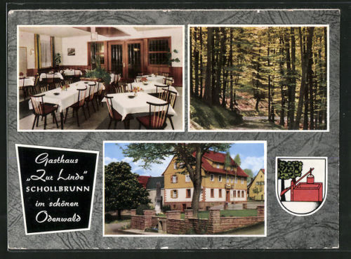 tolle AK Schollbrunn, Gasthaus Zur Linde, Hausansicht, Speiseraum, Waldpartie