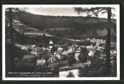 alte AK Sitzendorf, Teilansicht mit Hotel zur Linde und Haus Schönberg 1934