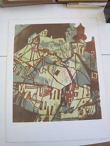 """Linde Waber (geb.1940) Farblinolschnitt """"Kahlenbergerdorf"""" 1976, 50/100"""
