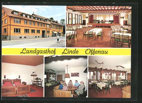 tolle AK Offenau, Landgasthof Linde, Außenansicht u. Inneres, Bes. W. Sochor