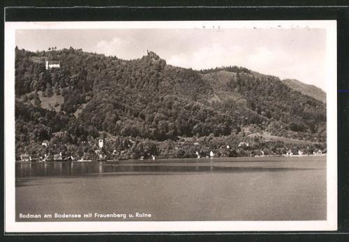 tolle AK Bodman, Panorama mit Hotel-Pension Linde