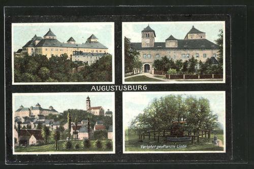 schöne AK Augustusburg, Panorama, Schloss & verkehrt gepflanzte Linde 1908