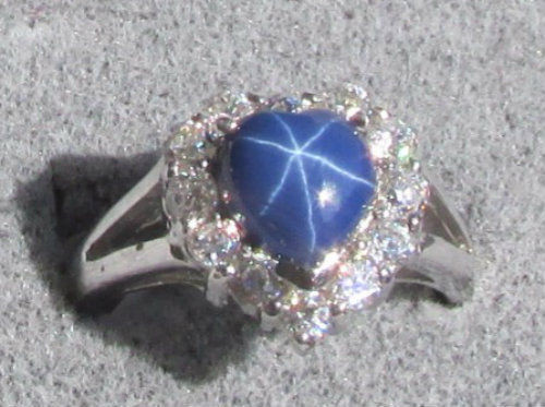 8MM HEART LINDE LINDY CF BLUE STAR SAPPHIRE CREATED 2ND RD PLT HALO .925 SS RING