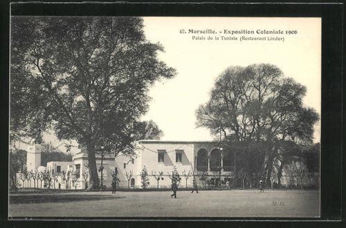 AK Marseille, Exposition Coloniale 1906, Palais de la Tunisie, Restaurant Linde