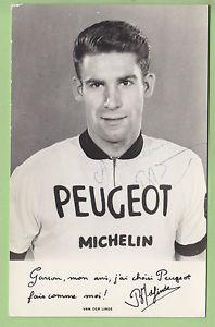 VAN DER LINDE, Autographe manuscrit. cyclisme.Peugeot Michelin