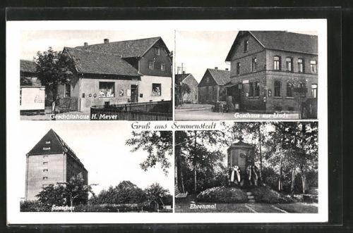 alte AK Semmenstedt, Gasthaus zur Linde, Geschäftshaus H. Meyer, Speicher 1956
