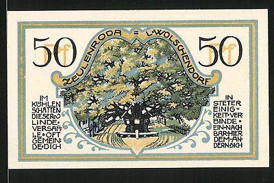 Notgeld Zeulenroda 1921, 50 Pfennig, Stadtwappen, Linde in Wolschendorf