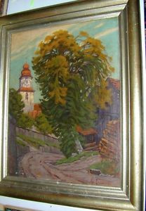 Hans von Clossmann Grafenhausen Schwarzwald Kirche Linde Ölgemälde um 1920