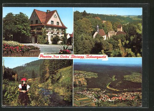 AK Steinegg, Gasthaus Pension zur Linde, Kirche, Frau in Schwarzwälder Tracht,