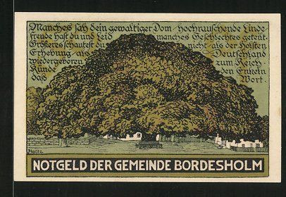 Notgeld Bordesholm 1921, 50 Pfennig, Stadtwappen, die große Linde