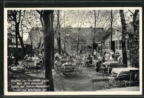 tolle AK Stolpe, Gasthof zur krummen Linde, Gartenlokal