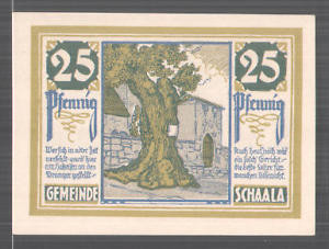 Notgeld Schaala 1921, 25 Pfennig, Bauer mit Pferdepflug und Fabrik, alte Linde