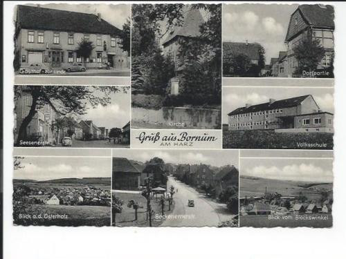BORNUM / Harz  << Gruß aus...8 Ansichten u.a. Schule, GH Zur Linde... >> s/w AK