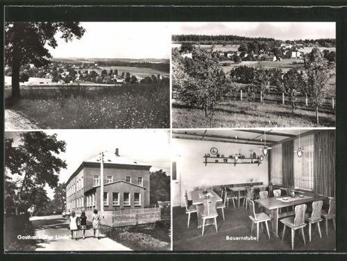 schöne AK Wernitzgrün, Gesamtansicht, Gasthaus Zur Linde, Bauernstube