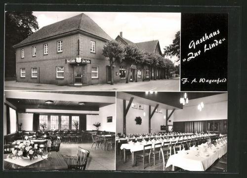 AK Rahden-Varl, Gasthaus zur Linde v. F. Wagenfeld, Außen- u. Innenansichten