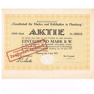 AG Gesellschaft für Markt-& Kühlhallen Hamburg hist Aktie 1923 Linde MuK München