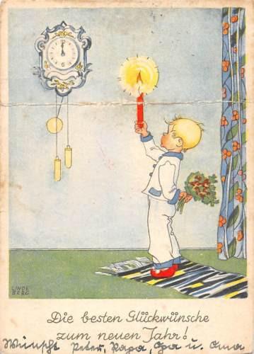 Best New Year Greetings, besten neuen Jahr! Candle Clock, Linde Berg Signed 1948