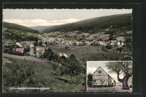 schöne AK Kempfenbrunn, Ortsansicht mit Bergpanorama, Gasthaus zur Linde