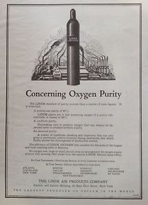 VINTAGE 1922 AD(F13)~THE LINDE AIR PRODUCTS CO. LINDE OXYGEN