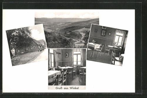 alte AK Winkel, Gasthaus zur Linde, Außen- u. Innenansichten, Panoramablick